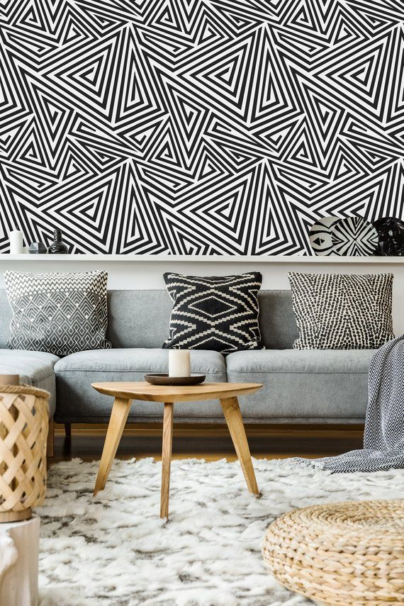 Geometric Spiral Triangle Removable WallpaperPeel and