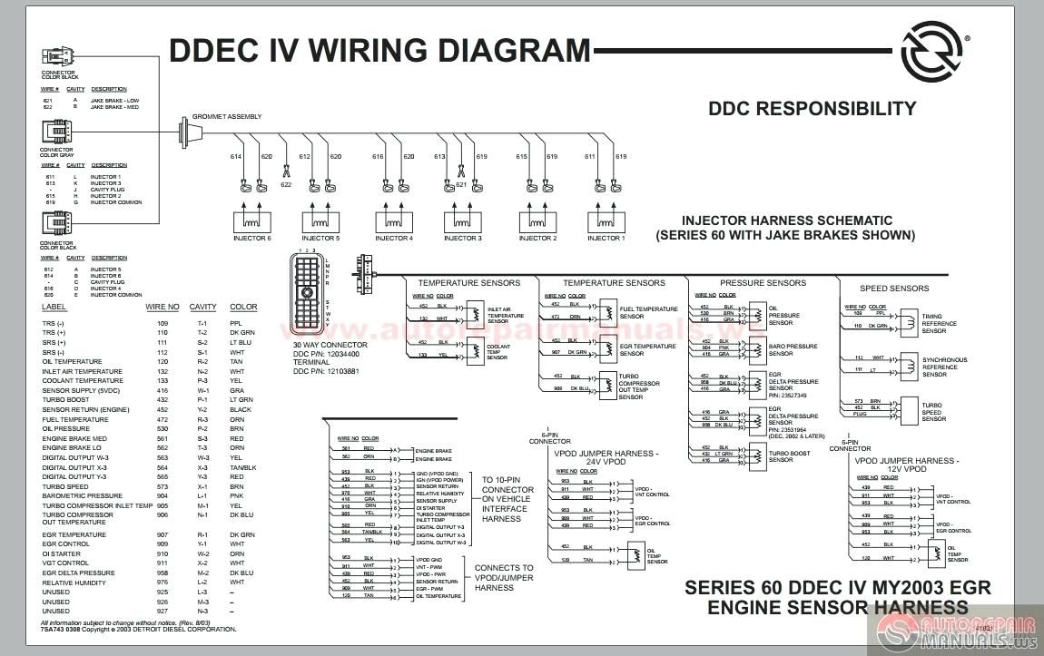 Wiring Diagram Of Detroit Diesel 60 Series With Oil Temperature And Engine Brake Or Turbo Compressor Wiring Detroit Diesel Detroit Electrical Circuit Diagram