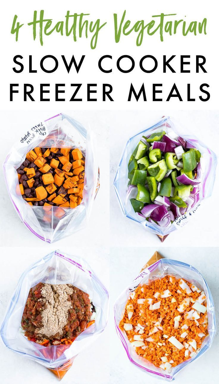 Four healthy vegetarian slow cooker freezer meals
