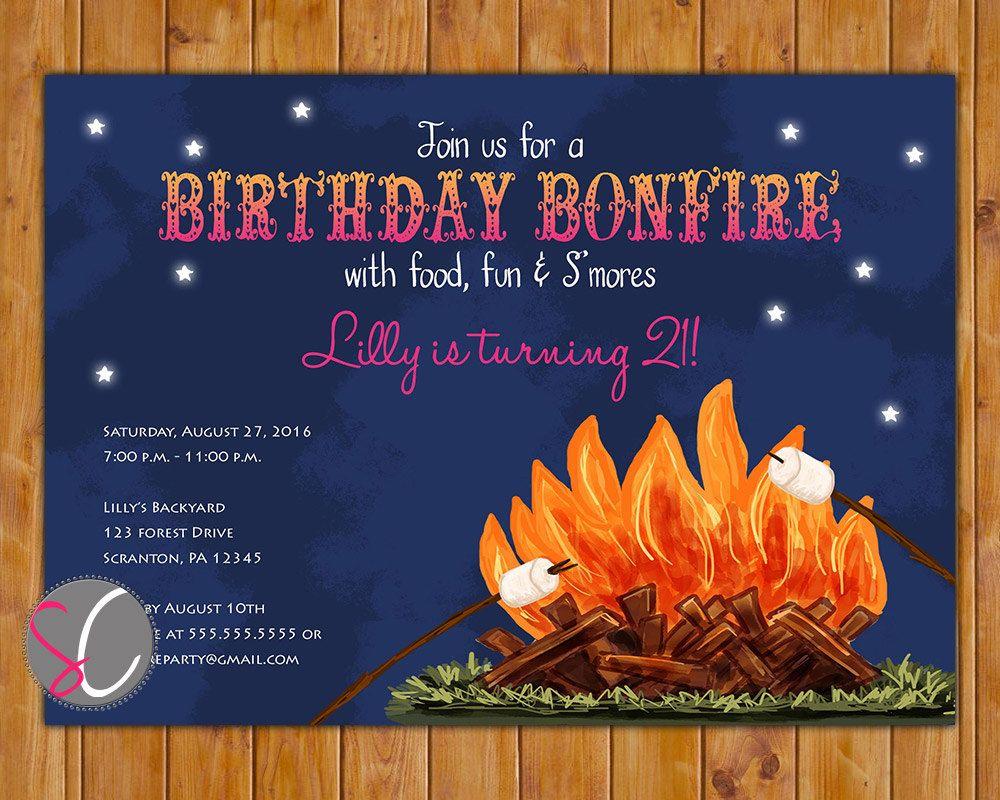 Girls Bonfire Birthday Party Invite Navy Pink Preteen Teen 21st
