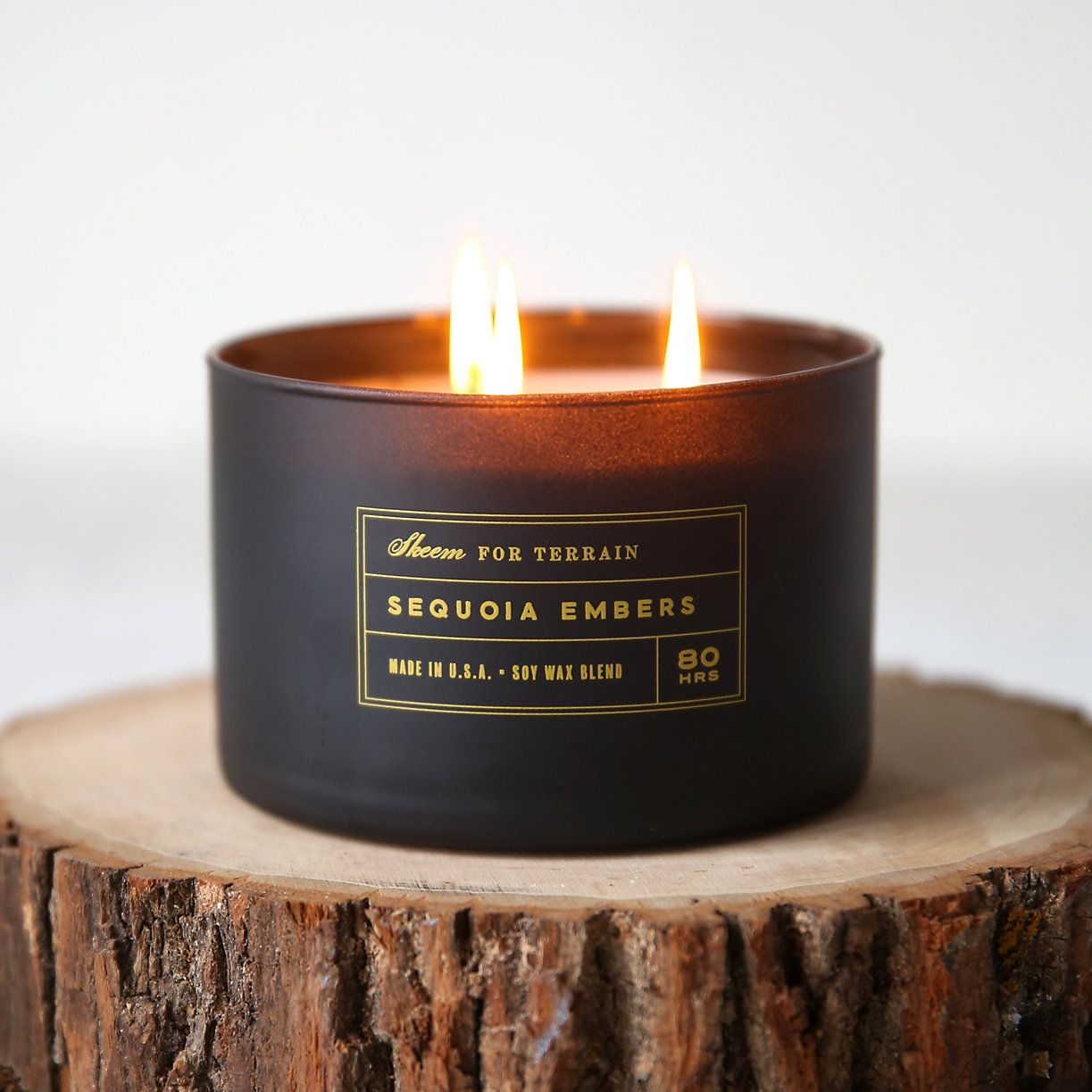 """Hand-poured exclusively for terrain and topped with a maple wood lid, this soy wax candle from Skeem pairs woodsy amber, patchouli, and sequoia with a smoky base and hints of fruit and spice.- A terrain exclusive- Maple wood lid, matte glass vessel, soy wax- Triple cotton wick - 80 hour burn time- 24 oz.- Hand-poured in the USA3.5""""H, 4.75"""" diameter"""