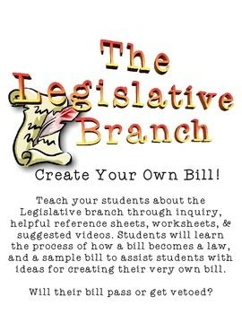 the legislative branch create your own bill lesson plans
