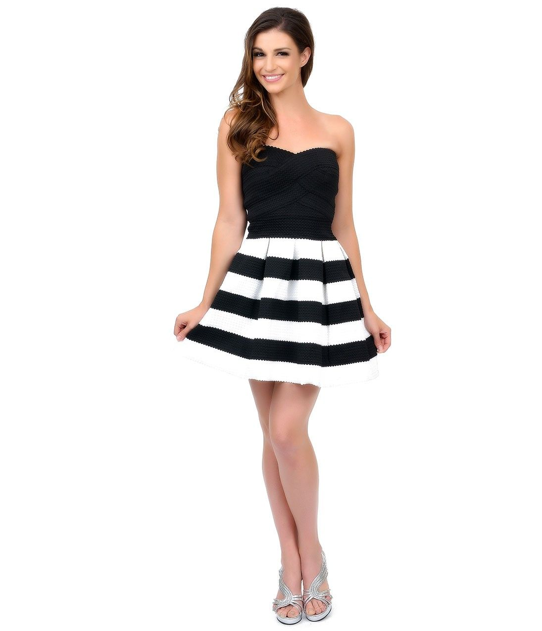 Black & White Striped Short #Homecoming Dress #uniqueprom ...