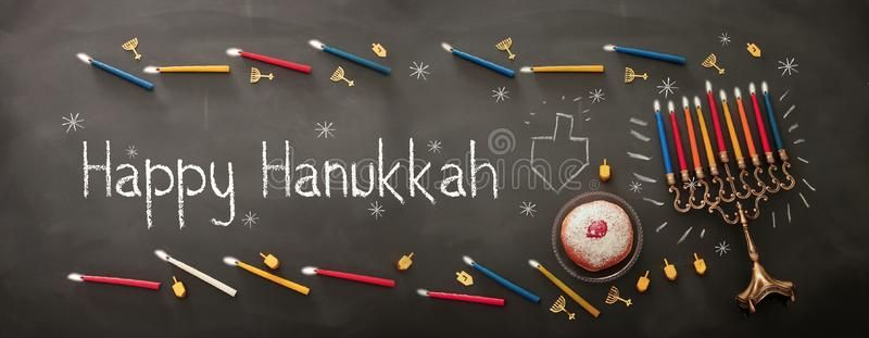 Banner of jewish holiday Hanukkah background with traditional sp Innig top men