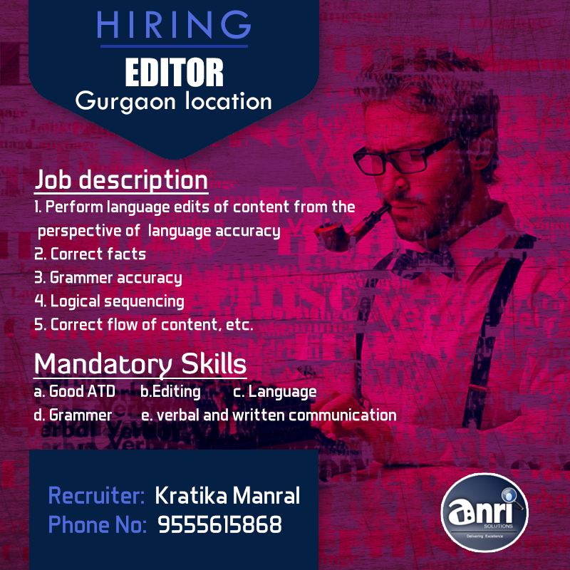Urgent Hiring For Editor In GurgaonInterested Candidate Contact