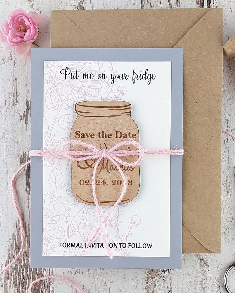 Gray Blush Save The Date Magnet Mason Jar Save The Date Wooden