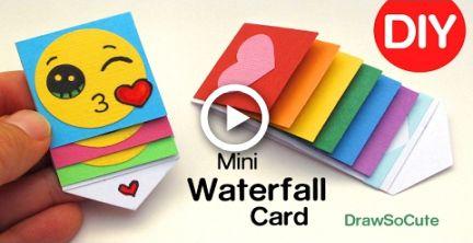 How to Make a mini WATERFALL CARD - DIY Fun Easy Craft #craft #drawing