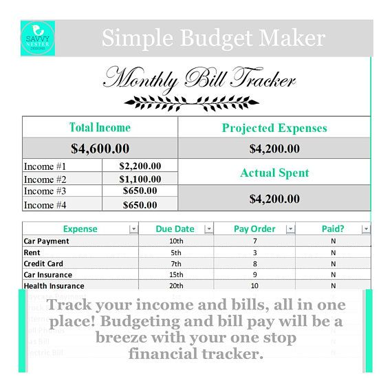 Excel Family Budget Expense System Income Tracker Pinterest
