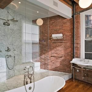 Jane kim design bathrooms expossed brick wall red for Urban bathroom ideas