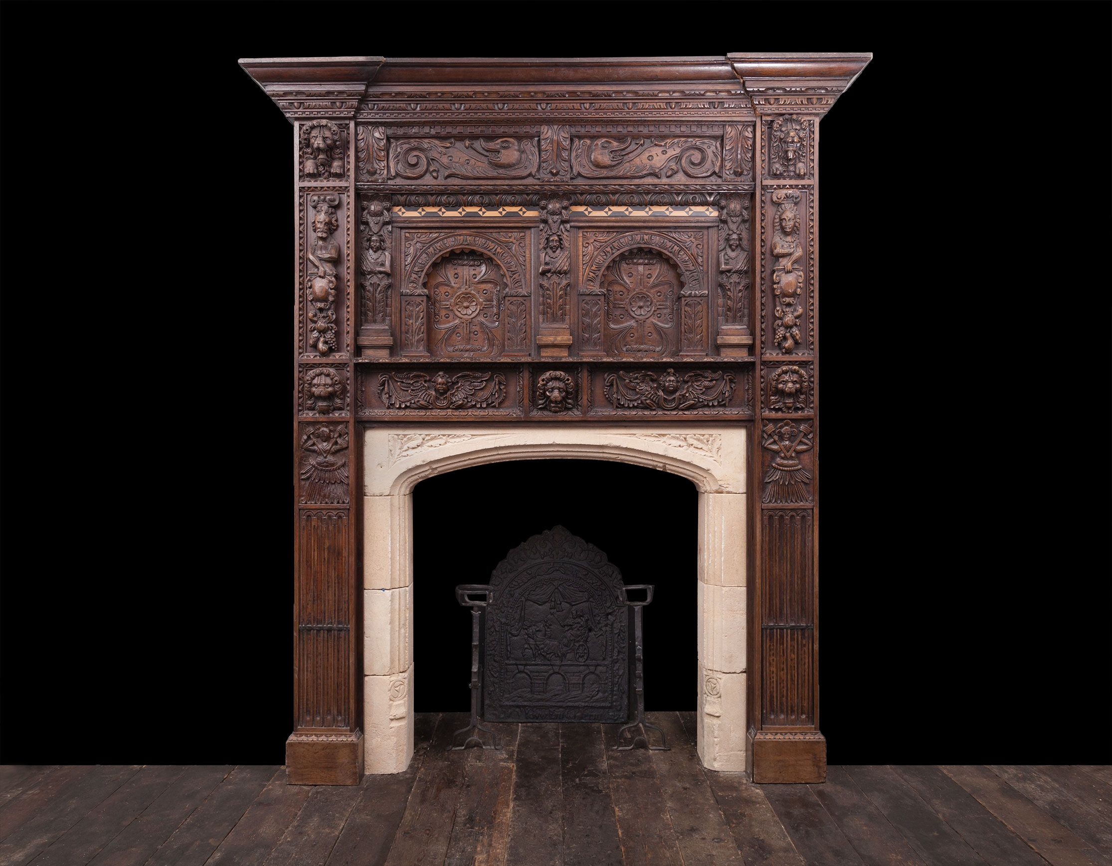Jacobean Fireplace W100 Antique Fireplaces Renaissance Wooden Kamin Derevo Dekor