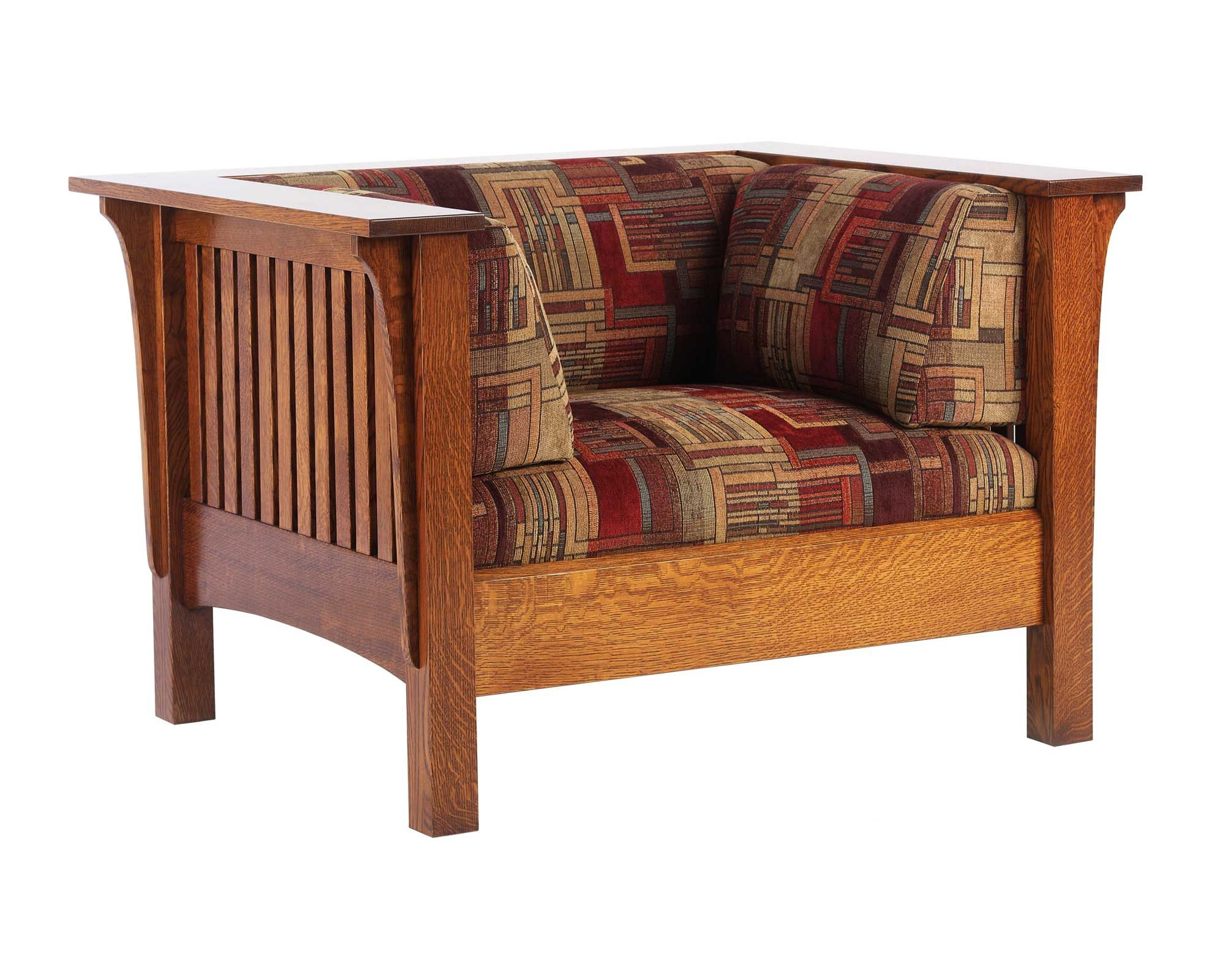 Mission Style Living Room Furniture Oak Mission Low Back Wide Chair Amish Furniture Solid Wood