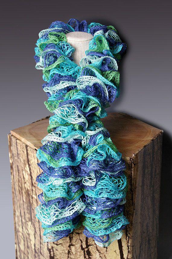 PDF PATTERN FILE - Crocheted Ruffle Scarf Pattern
