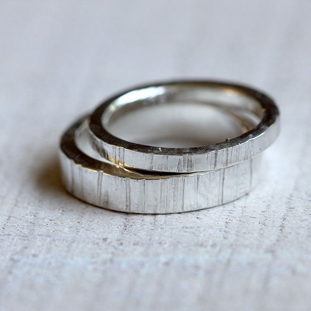 Sterling Silver Tree Bark Wedding Ring Set I Have Applied By Hand The Wood  Grain