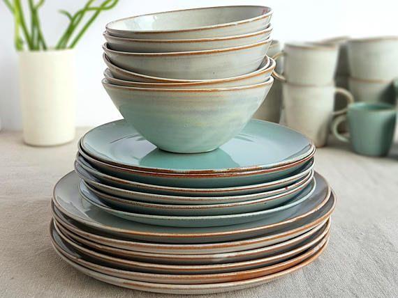 Stoneware Dinnerware Set Mix And Match Dinnerware Set Pottery Dinnerware Handmade Dinnerware 4 Place Setting Blue And White Dinnerware Steinzeug Geschirr Geschirr Steinzeug Mix and match dinnerware sets