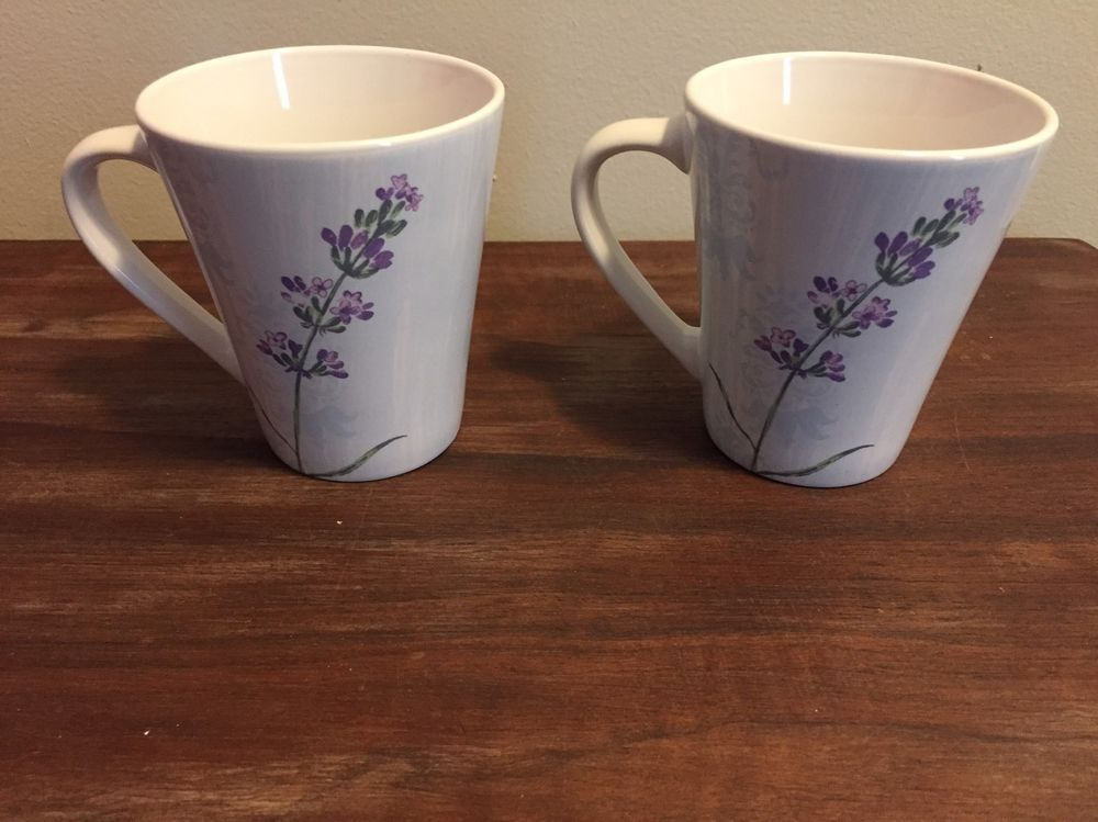 2 Corelle Coordinates Purple Floral Porcelain Coffee Mugs Cups Nice