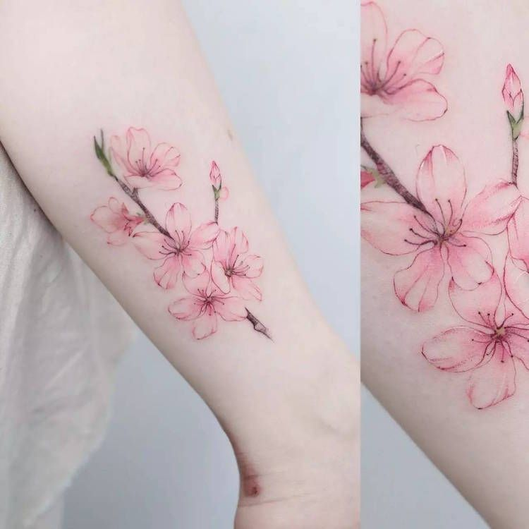 Tatouage Fleur Cerisier Rose Pale Mollet Beautytatoos Tattoos