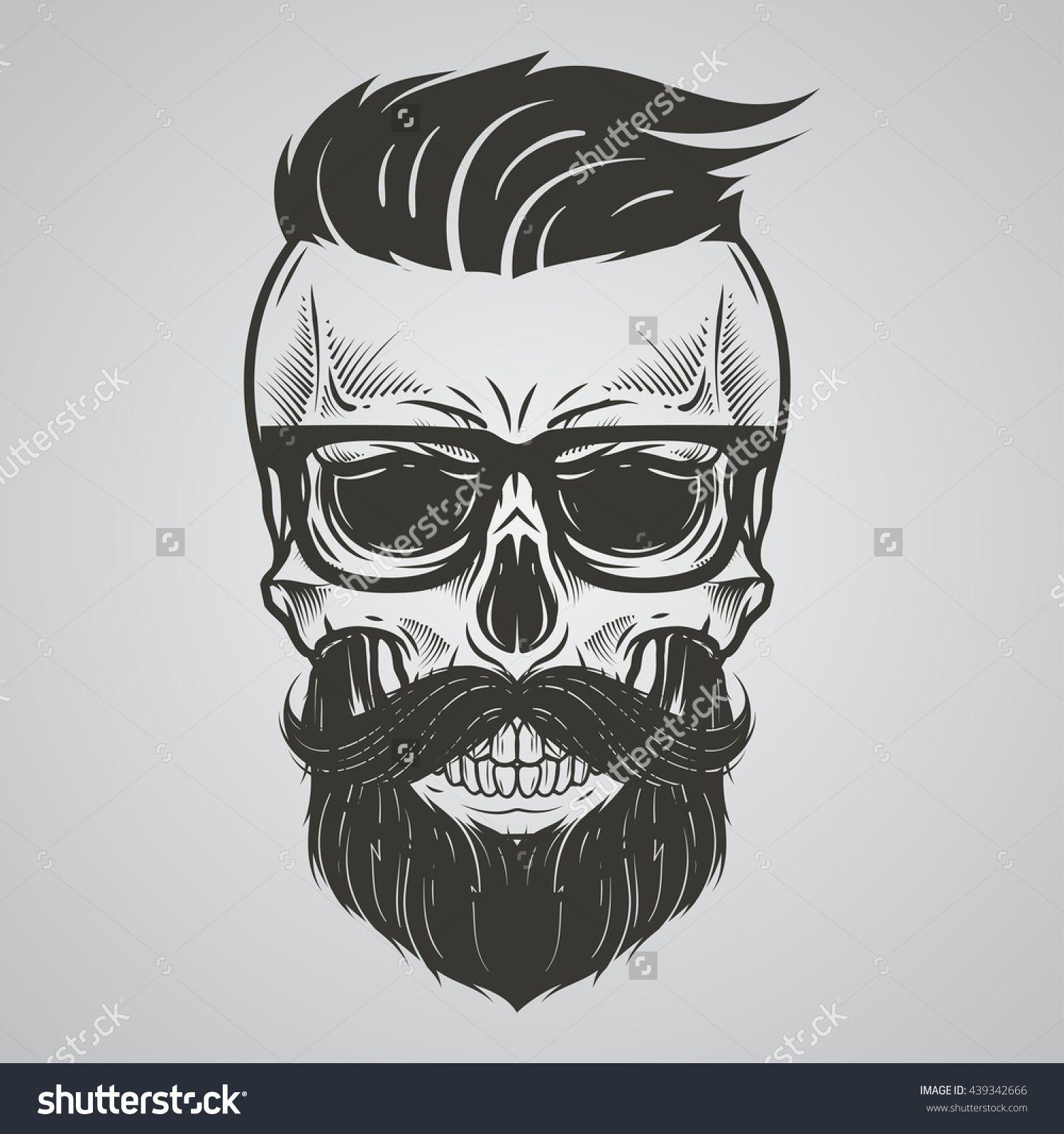 9c6f6467cdb4 Bearded skull illustration | Barbería en 2019 | Barba dibujo ...