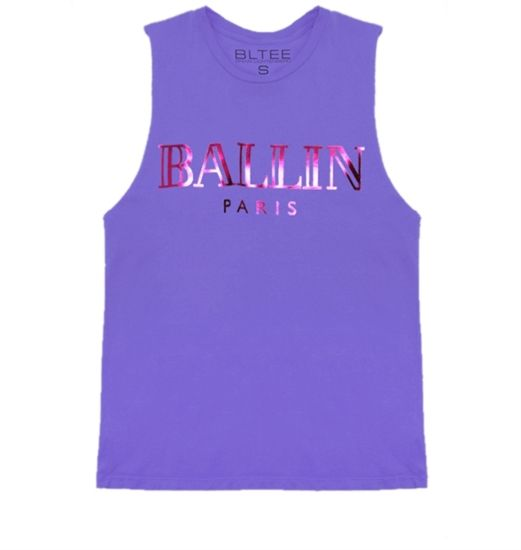 Vanessa's Closet - Lavender Ballin Muscle Tee with Pink Foil