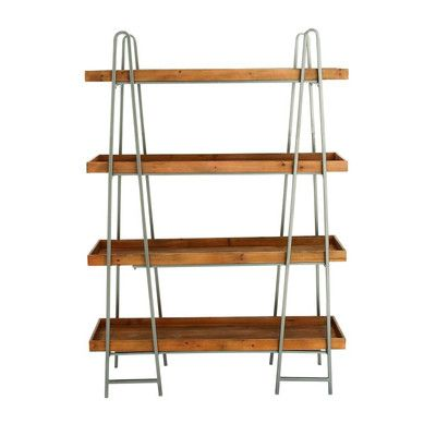 "Cole & Grey Wood and Metal 4 Tier 65"" Etagere Bookcase"