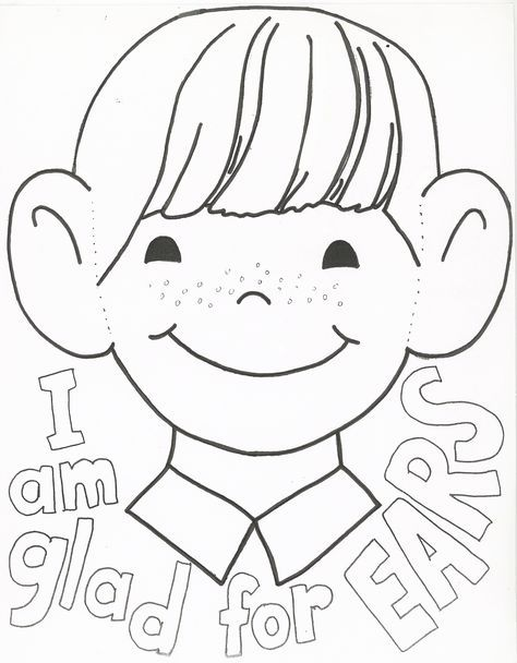 I Am Thankful For My Ears Coloring Page More Preschool Coloring