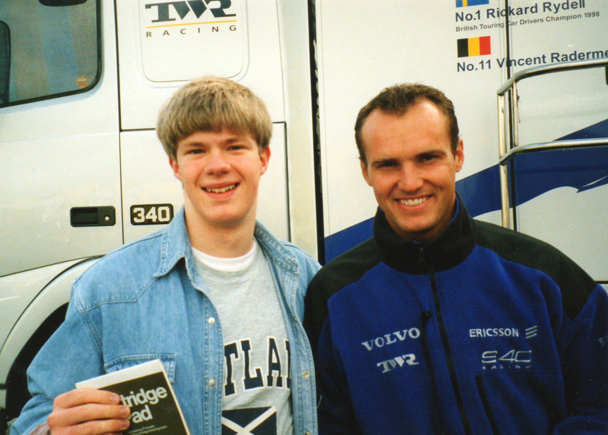 With Rickard Rydell at Knockhill, August 1999.