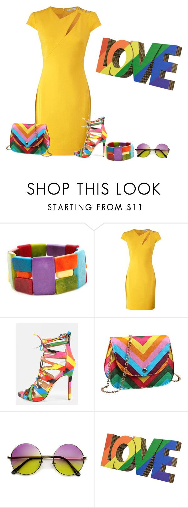 """""""Rainbow Accesories"""" by lovetodrinktea ❤ liked on Polyvore featuring Encanto, Versace, women's clothing, women, female, woman, misses and juniors"""