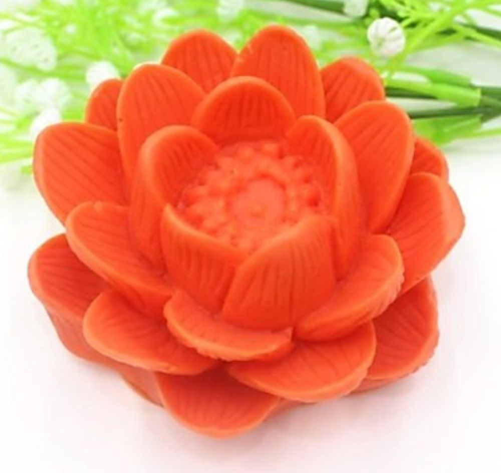 Large Lotus Flower Silicone Chocolate Soap Clay Fondants Candle