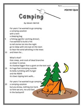 Camping- Poem and Quiz | Poems, Quizzes and answers and Student