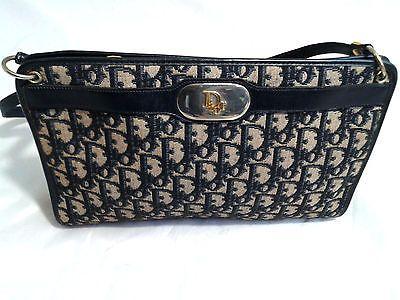 80ebf7817772 Authentic Vintage Christian Dior Shoulder Bag Trotter Canvas Navy Blue    Beige