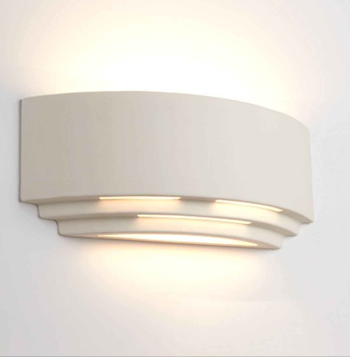 Searchlight Ceramic Wall Light Fixture - 25 Watt Natural Plaster