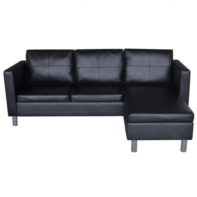 Black Sectional Sofa Faux Leather Pillows Cushions Chaise Lounge Couch Home Set 410 11end Date Jun 2 Best Leather Sofa Sectional Sofa Leather Sectional Sofa