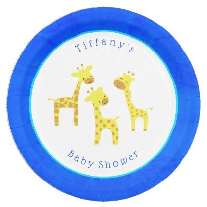Blue Giraffe Paper Plates - #customize create your own personalize diy  sc 1 st  Pinterest & Blue Giraffe Paper Plates - #customize create your own personalize ...