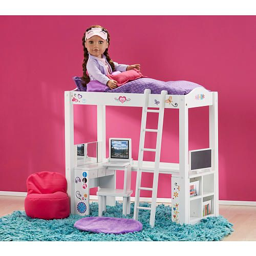 Journey Girls Wood Bed and Desk Combo | Baby dolls accessories ...