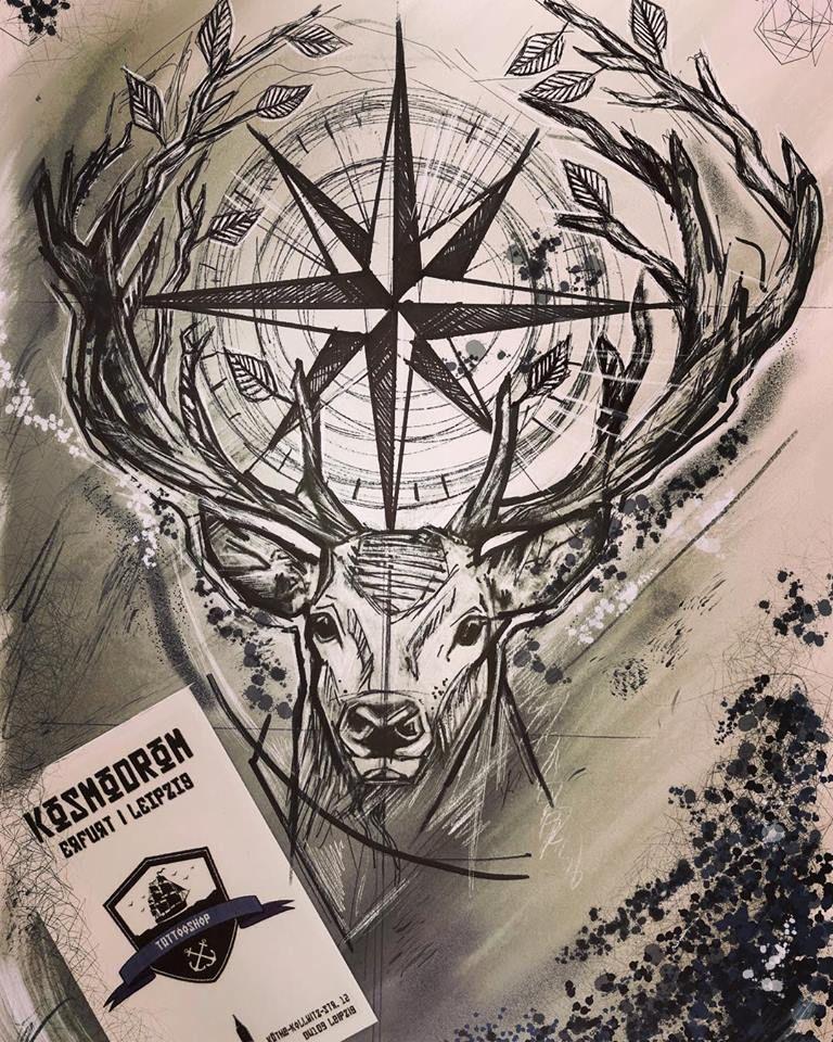 Photo of # windrose # kompass # hirsch # tier # tattoo # flash # kratzen # sketch # kosmodromtattoosh …