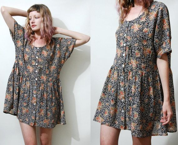 90s Vintage BABYDOLL DRESS Dark Floral vtg Slouchy Oversized Mini ...