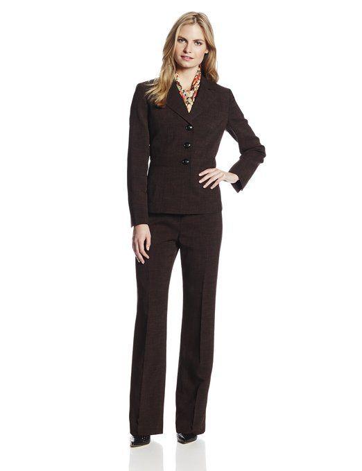 492c64f7ebc Le Suit Women s Inset Waist Jacket with Pant and Scarf Suit Set ...