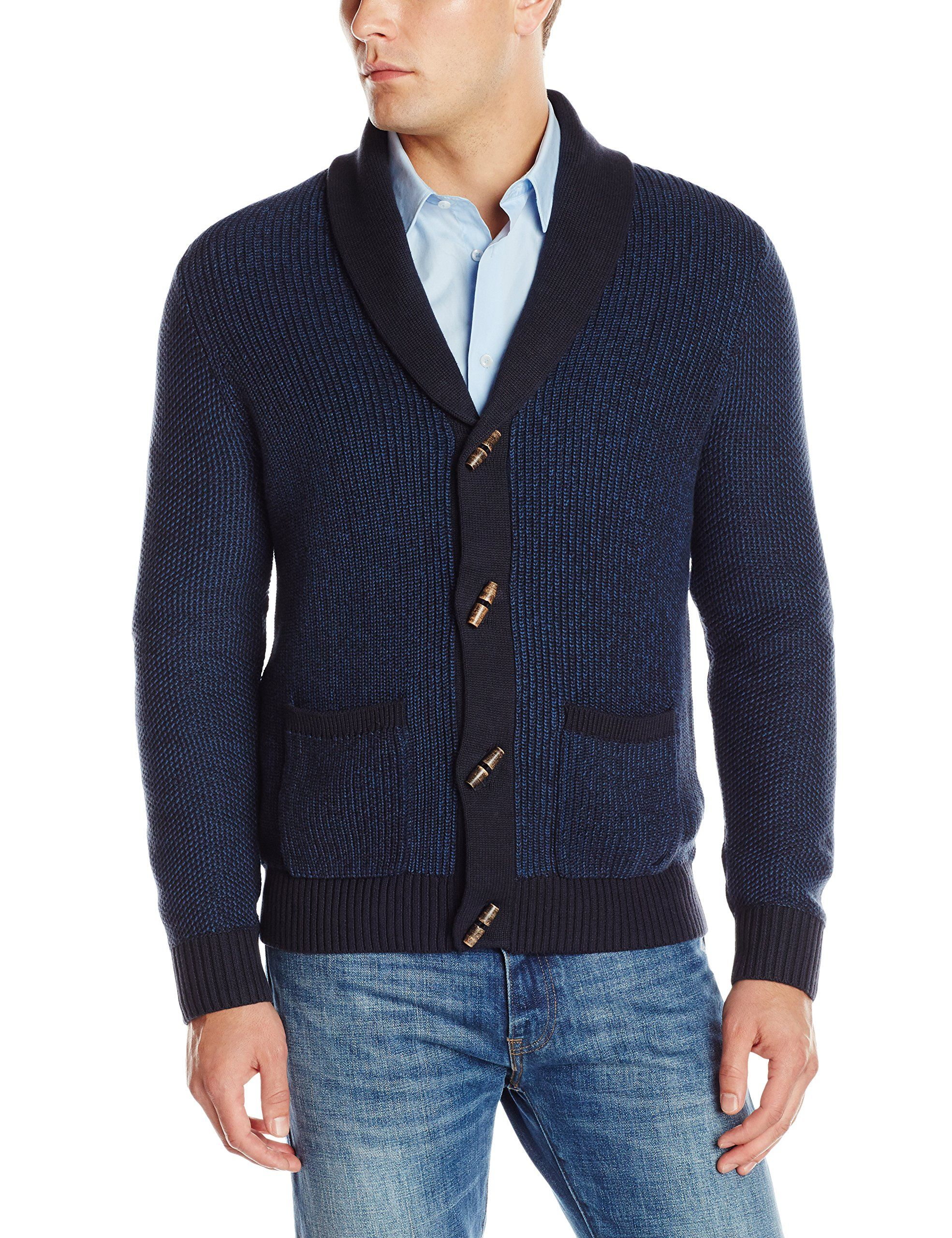 Nautica Men's Cardigan Toggle Sweater, Class Navy, Small | Clothes ...