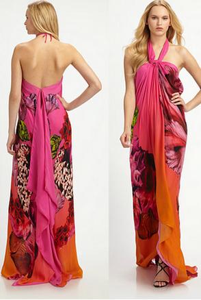 Roberto Cavalli Caftan Dress Red Pink Orange Floral Dresses Red Dress Caftan Dress