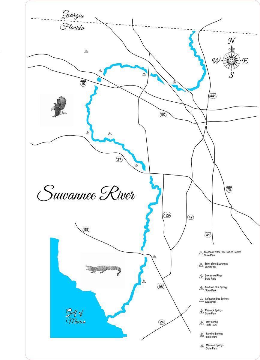 Suwanee River Florida Wood Laser Cut Map Suwannee River Florida