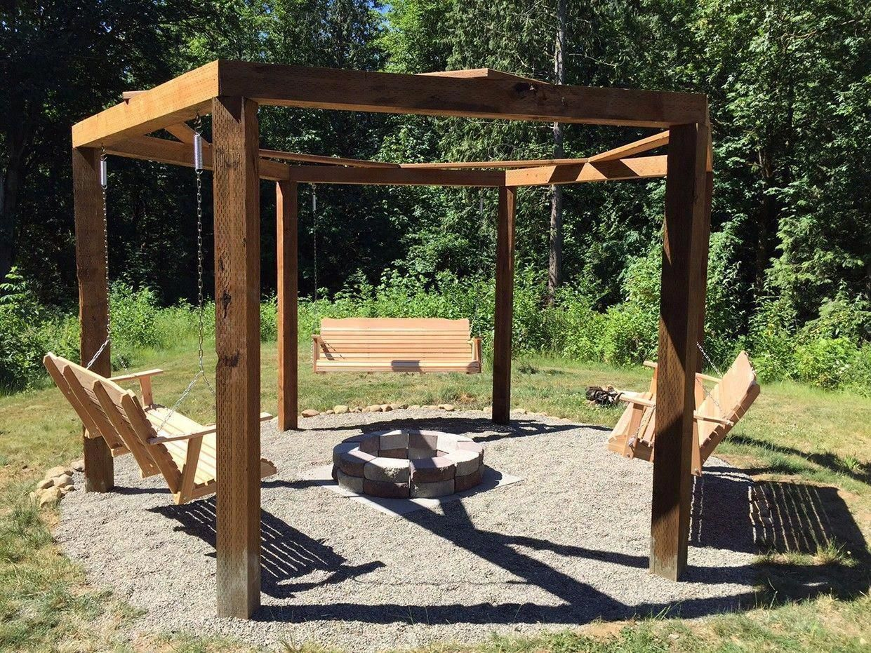 rectangular Pergola Fire Pit | Amazing Porch Swing Fire Pit Designs Ideas  #trellisfirepit - Rectangular Pergola Fire Pit Amazing Porch Swing Fire Pit Designs