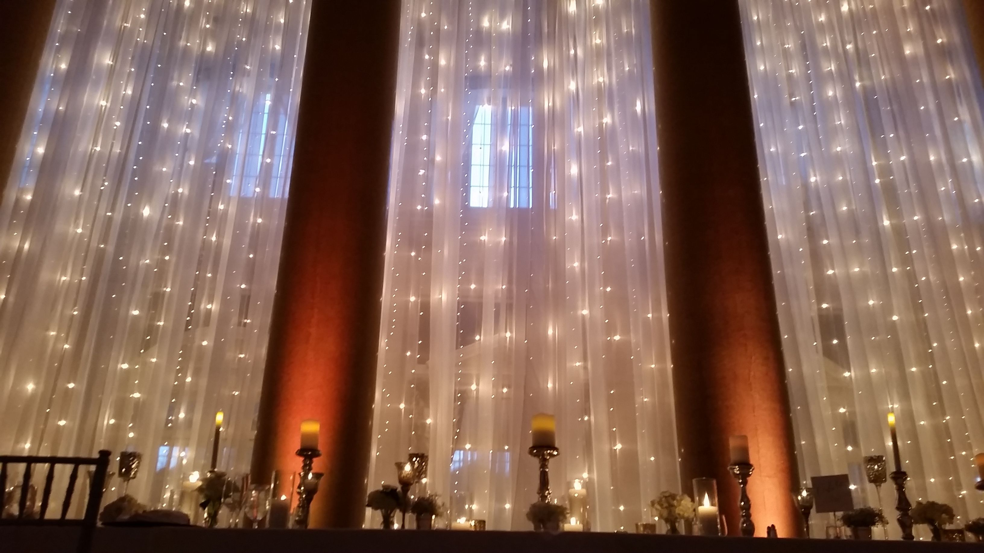 Draping with mini lights www.tentrent.com