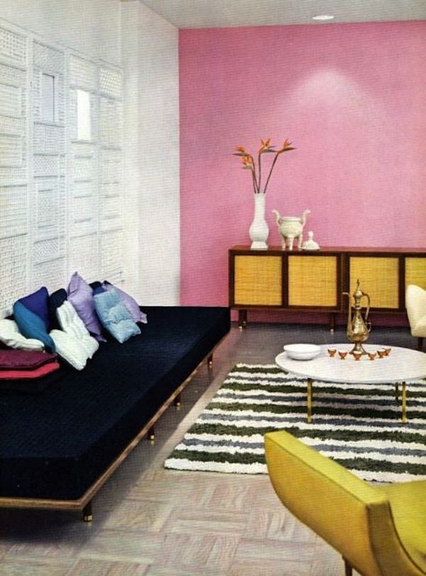 Midcentury Modern Retro Interior Design 50s 60s Pink Wall Room ...