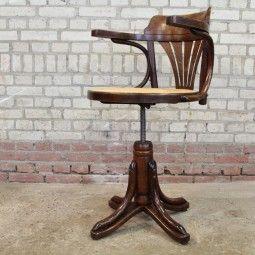 Thonet Bureau Stoel.Thonet Bureaustoel Vantrommelen Vintage Antiques Brocante