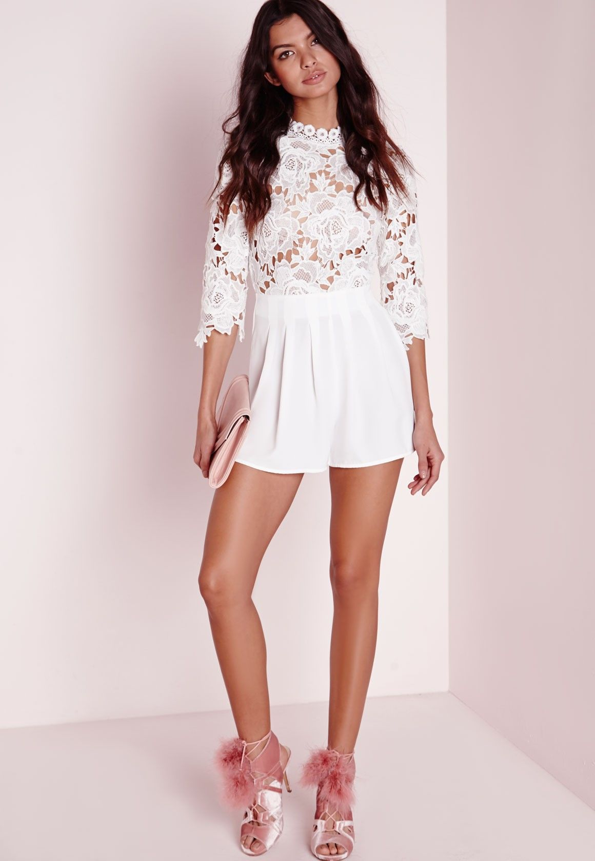 missguided combishort blanc col haut avec appliques de. Black Bedroom Furniture Sets. Home Design Ideas