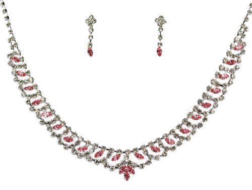 "Bridal Wedding Prom Pageant Crystal Necklace and Earring Set, 18"" with Adjustable Chain N1Z67"