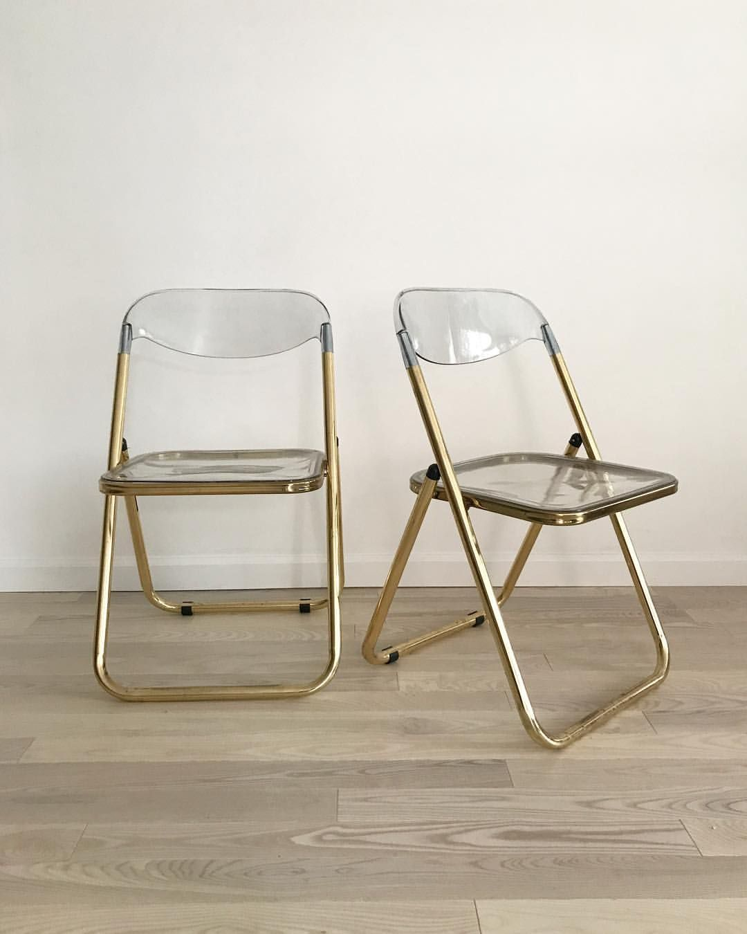 Brass Vintage Lucite Folding Chairs