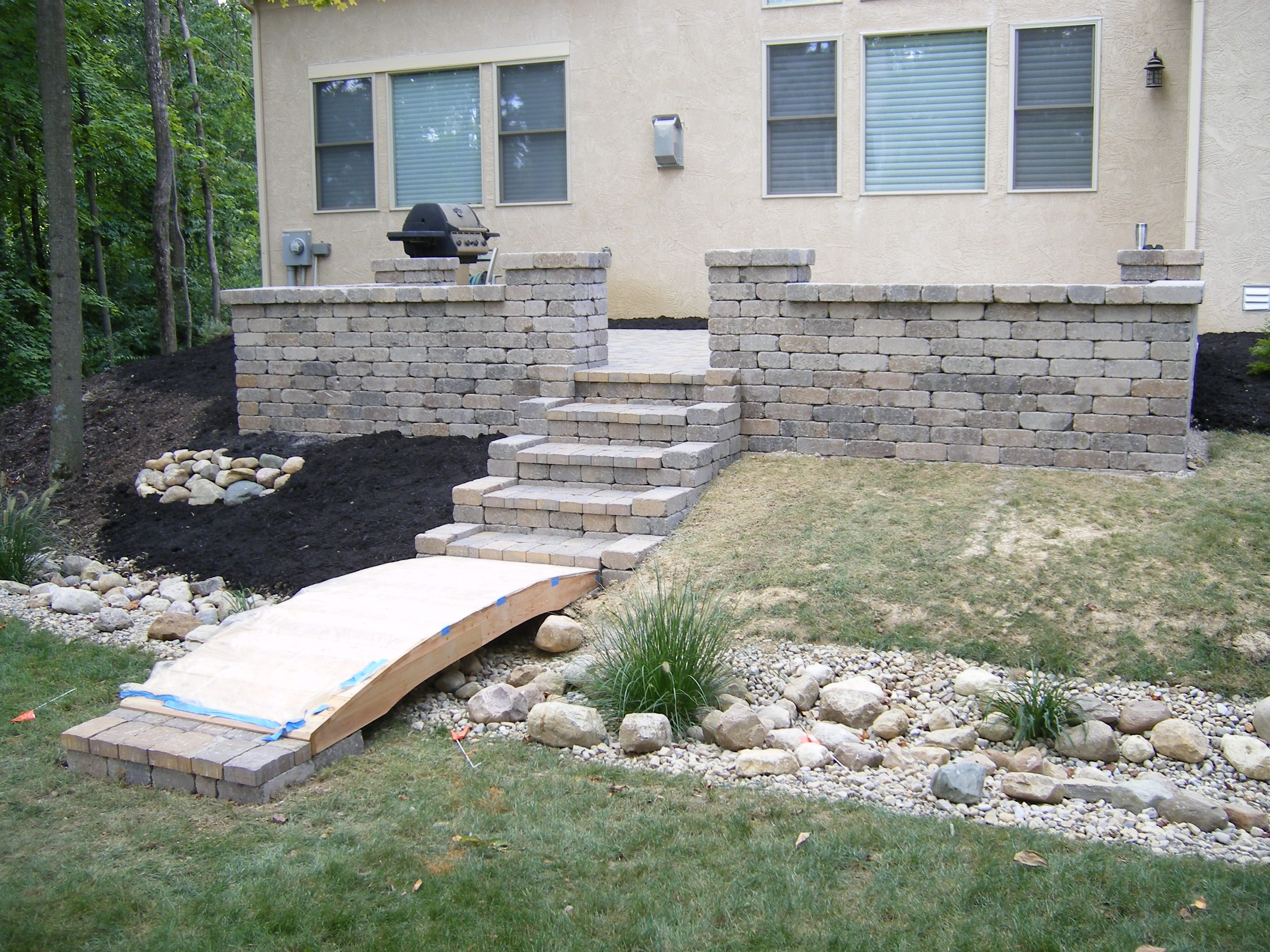 Back patio with landscape