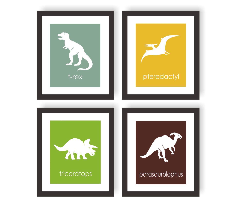 Dinosaur Nursery Art Print - Choose Colors, Kids Dinosaur Art, Boys Dinosaur Room, Kids Wall Art, Little Boys Room Art, Dinosaur Wall Decor by twowhiteowls on Etsy https://www.etsy.com/listing/117473370/dinosaur-nursery-art-print-choose-colors