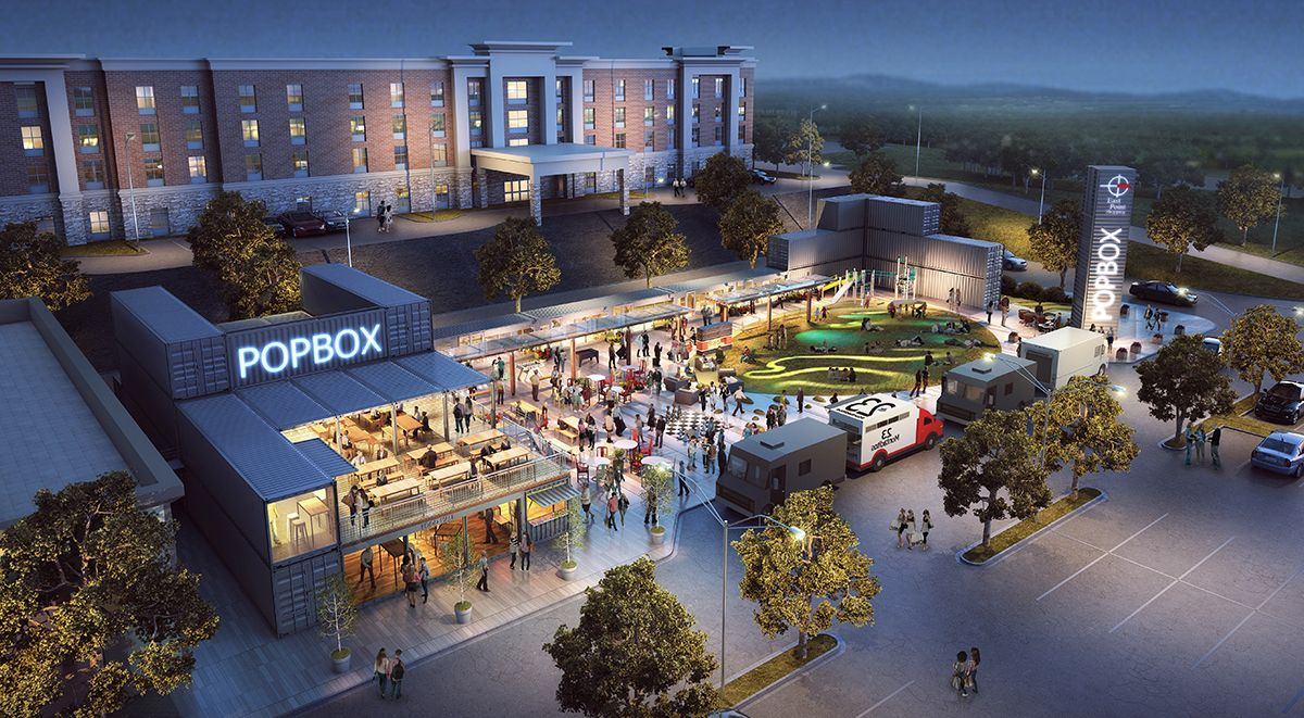 Constructed entirely out of shipping containers, Popbox