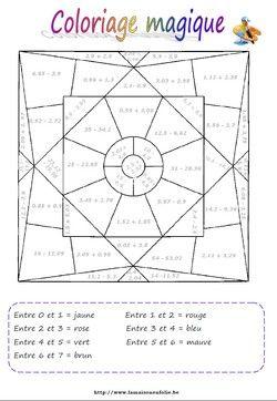 Coloriage magique calcul sur les d cimaux math matique les nombres d cimaux fractions - Calcul magique ...